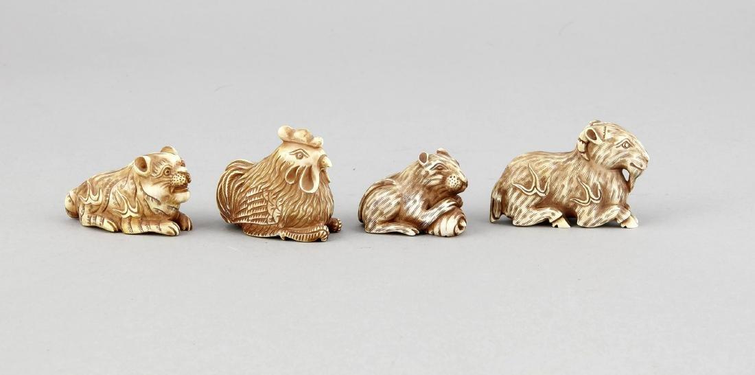 Konvolut von 4 Netsukes in Tierform, Japan, 1. H. 20.