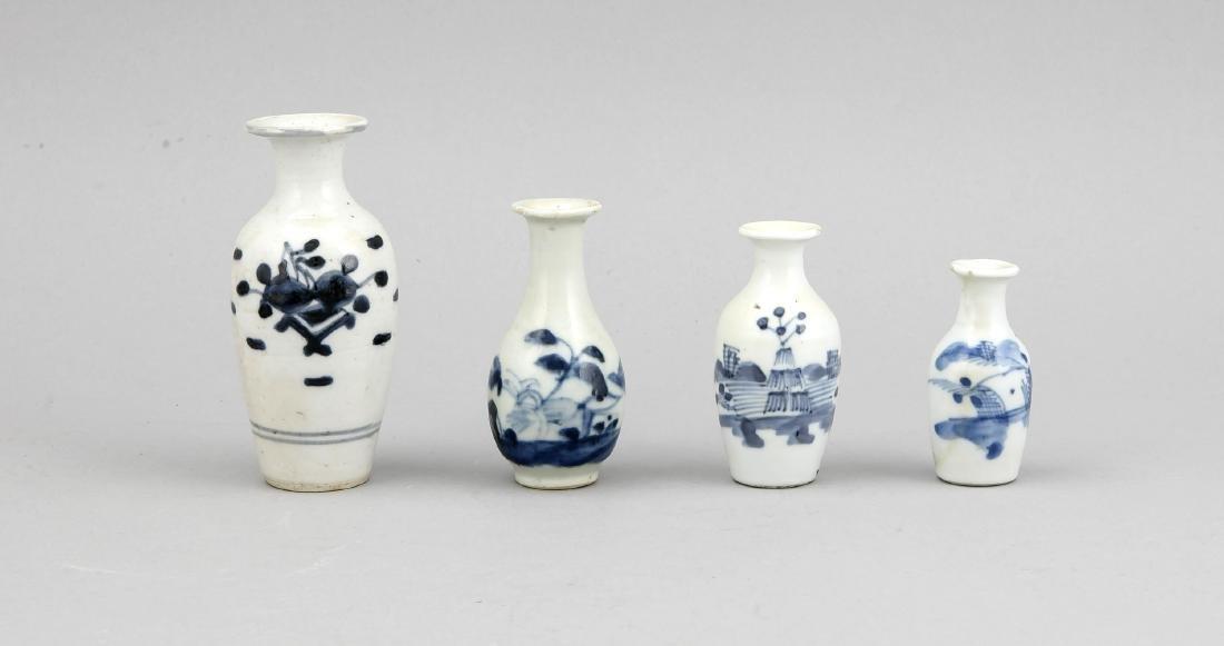 4 kleine Vasen, China, 18./19. Jh., kobaltblaue