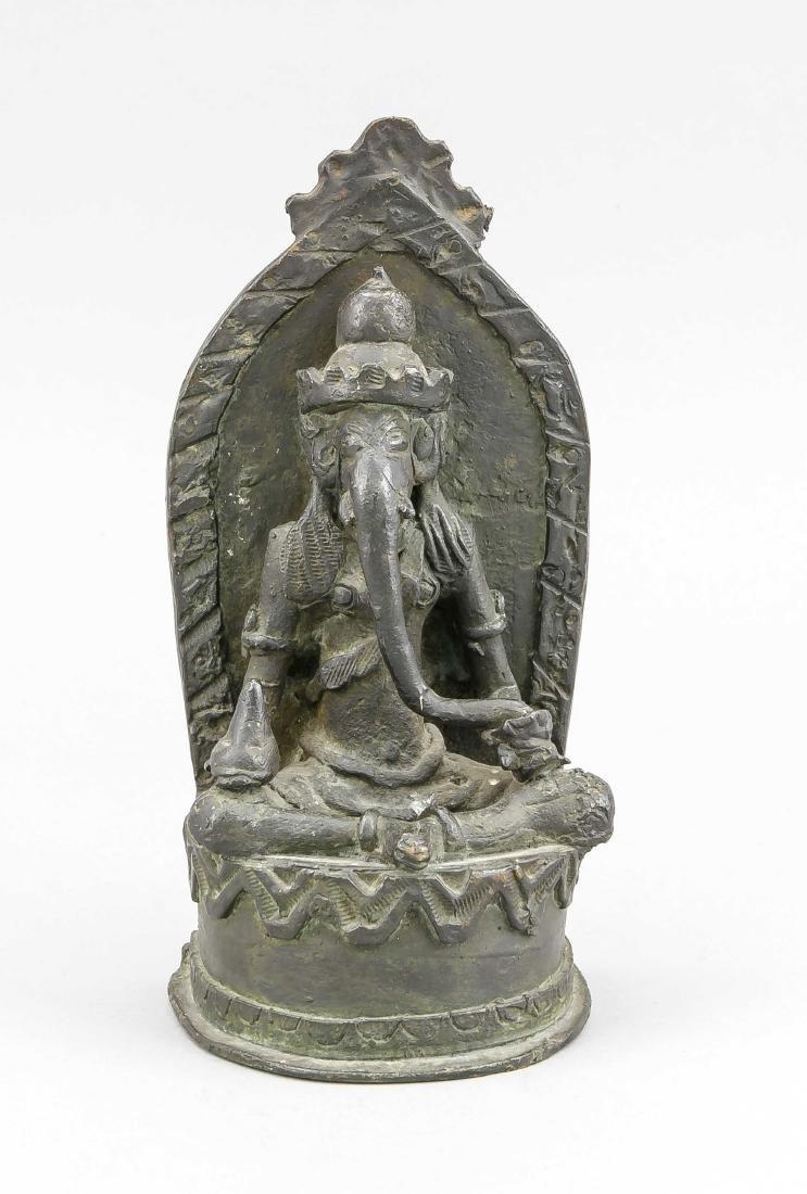 Ganesha, Indien, 19./20. Jh., Bronze mit leicht