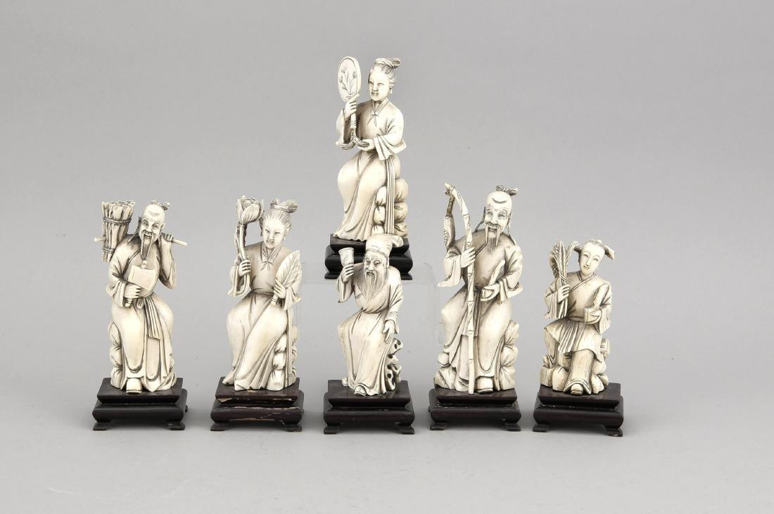 6 Elfenbein-Figuren, China, 19. Jh., z.T. durchbrochen