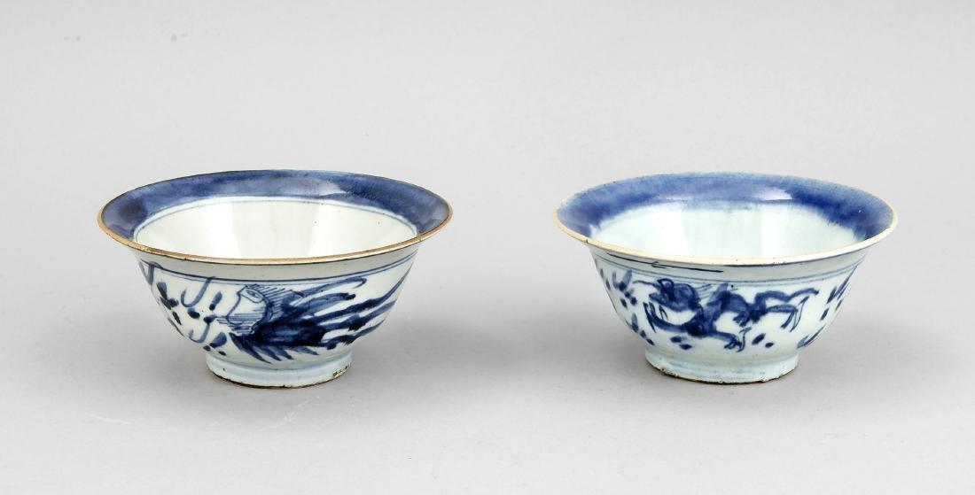 2 Reisschalen, China, um 1800, äußere Wandung mit Dekor