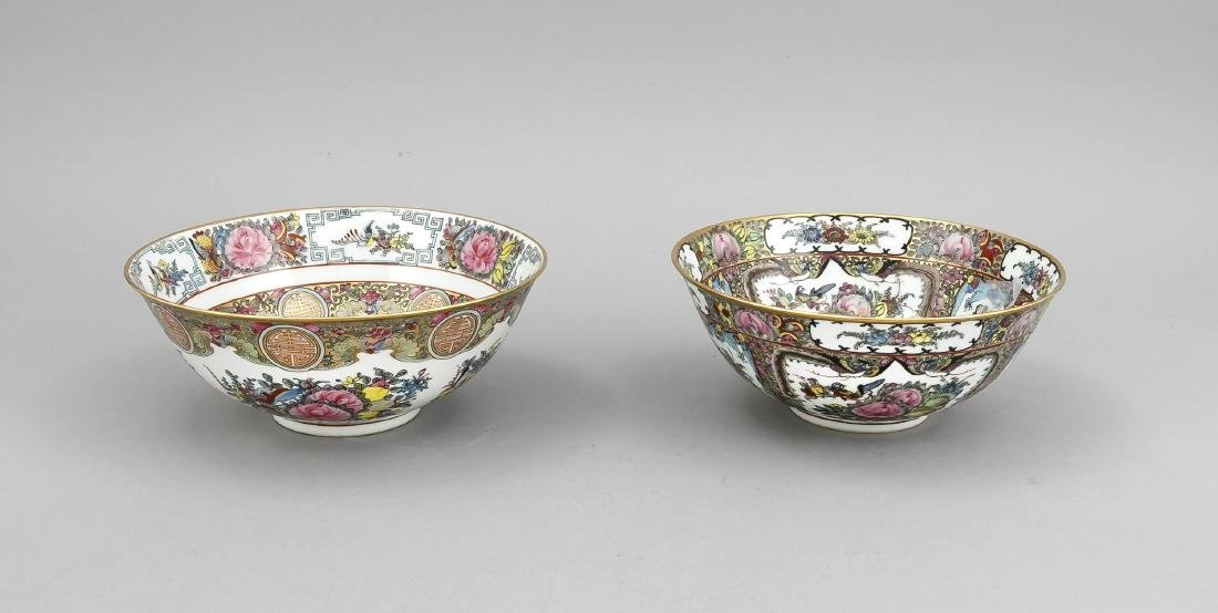 2 Famille-Rose-Schalen, China (Canton), 20. Jh., 1 x