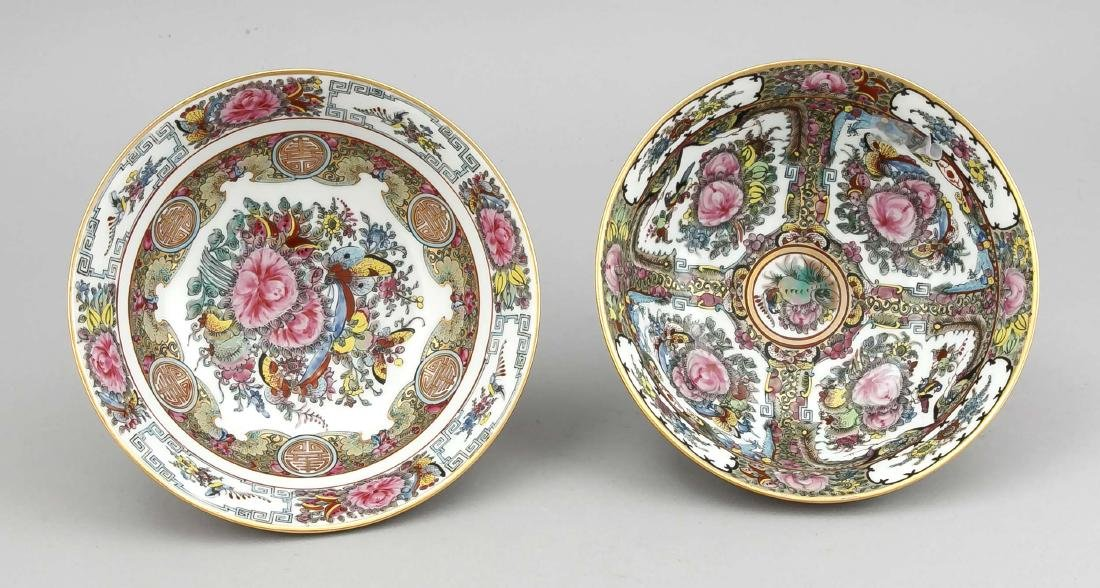 2 Famille-Rose-Schalen, China (Canton), 20. Jh., 1 x - 2
