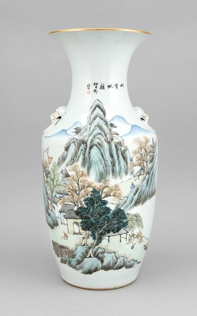 Vase, China, um 1900, geschulterte Form, Handhaben am