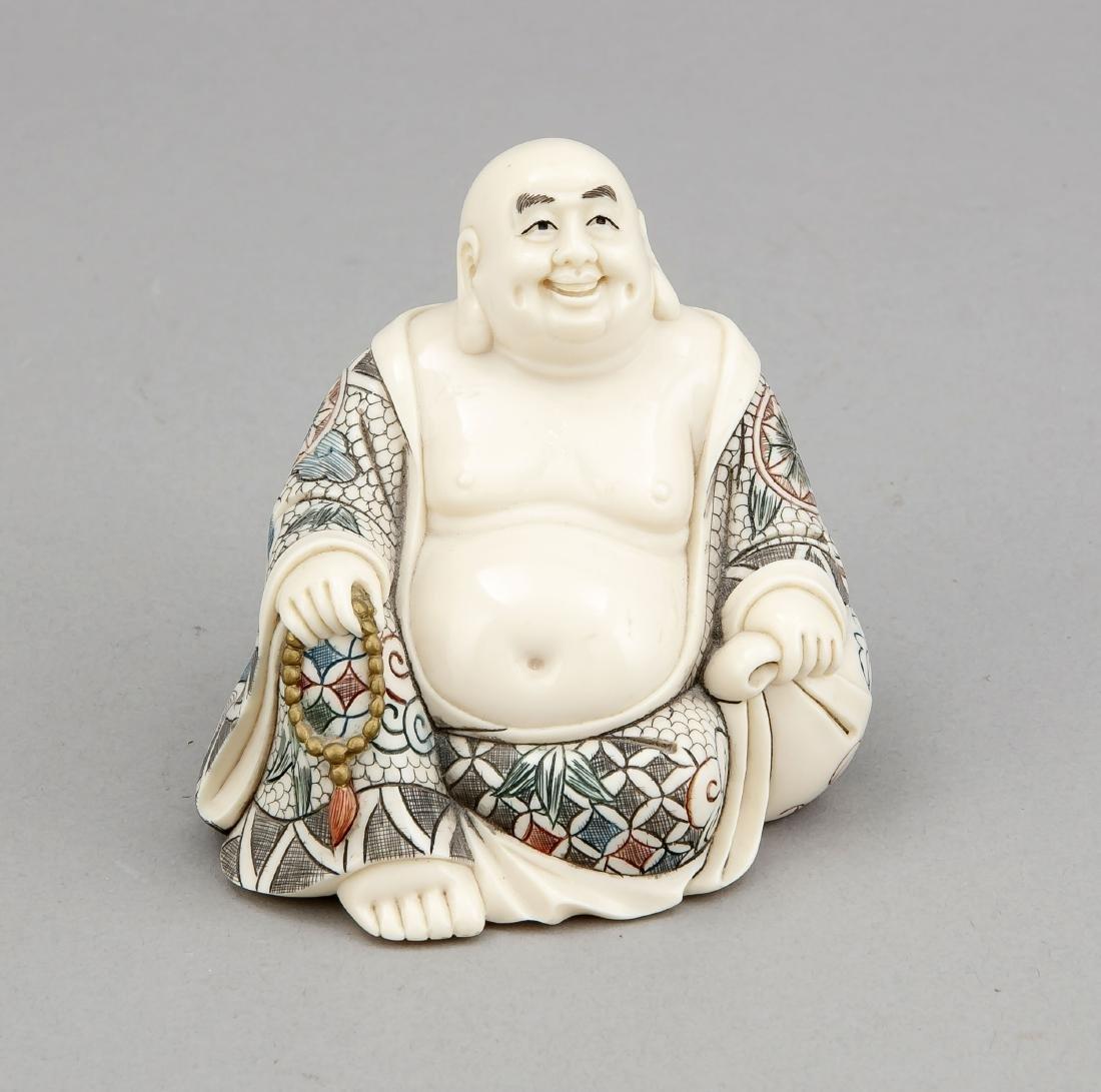 Elfenbein-Buddha, Japan, 19. Jh., sitzende Figur mit