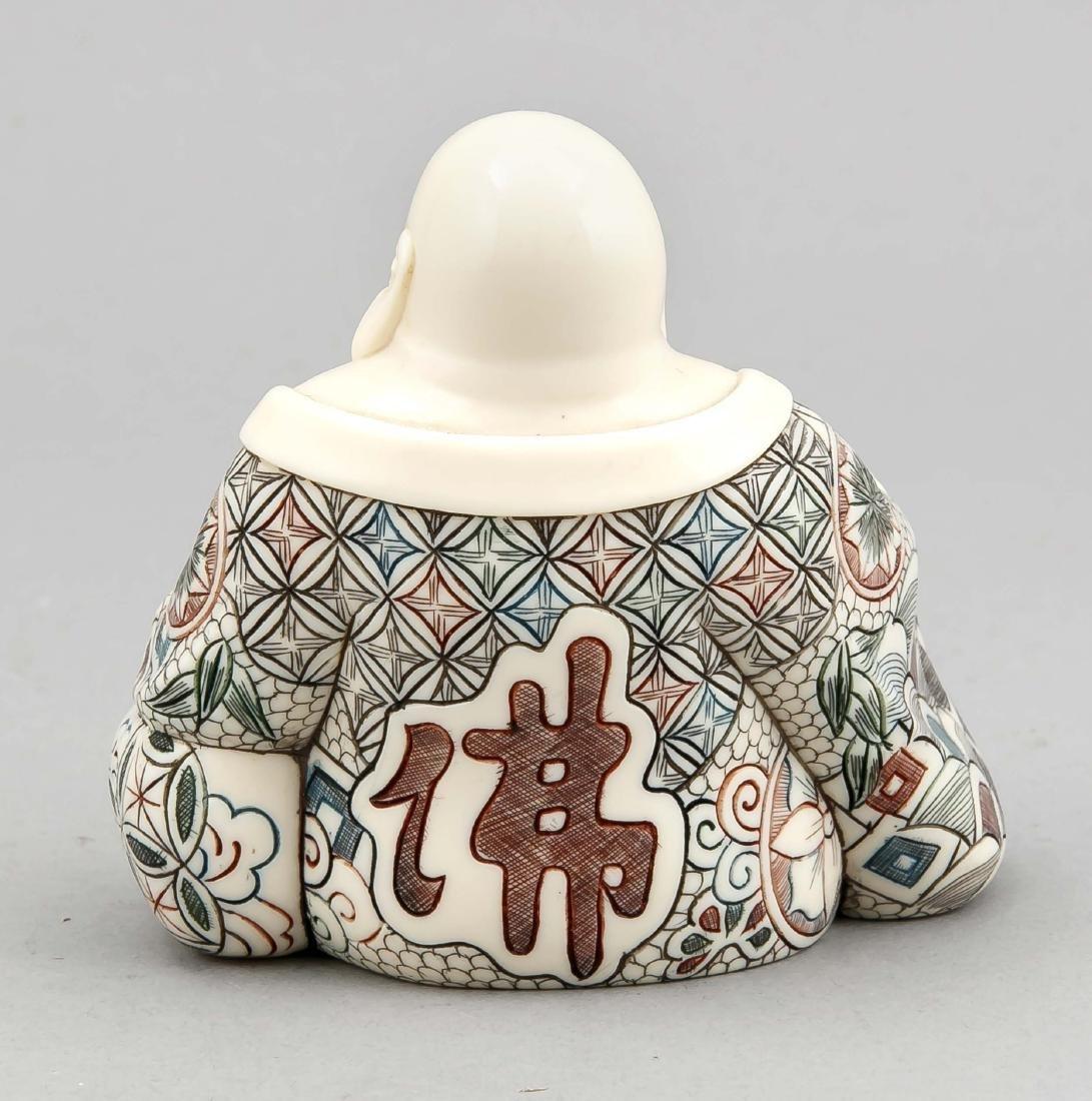 Elfenbein-Buddha, Japan, 19. Jh., sitzende Figur mit - 2
