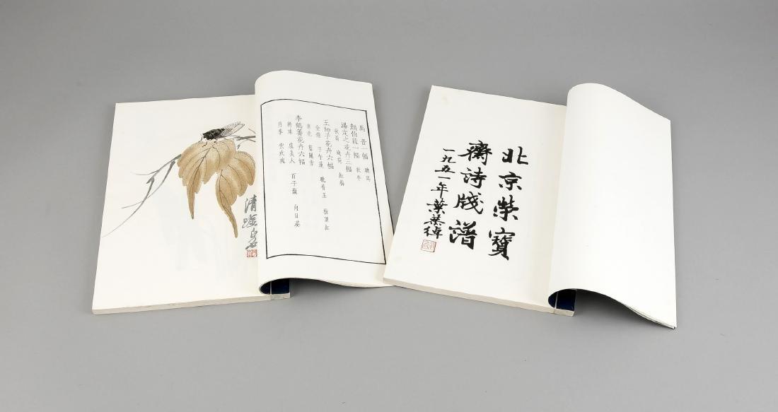 Leporello-Album mit 2 Bänden Holzschnitt-Drucken Qi - 3
