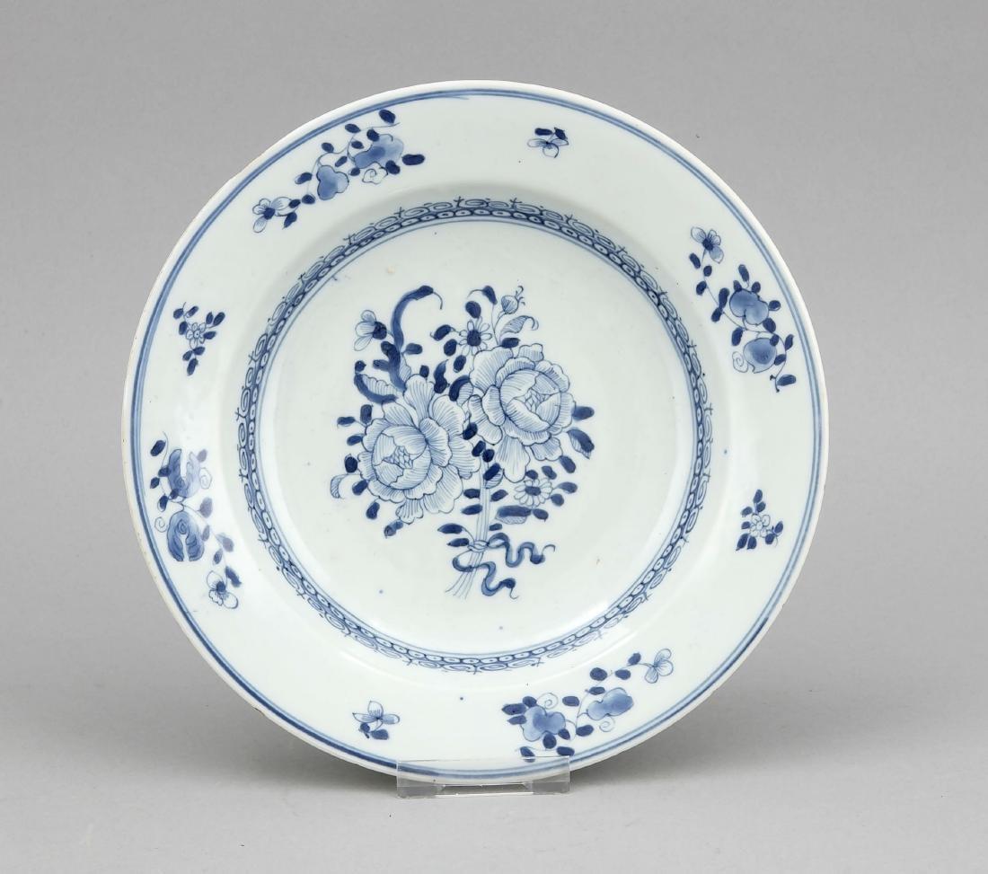 Blauweißer Teller, China, Qianglong?, im Spiegel