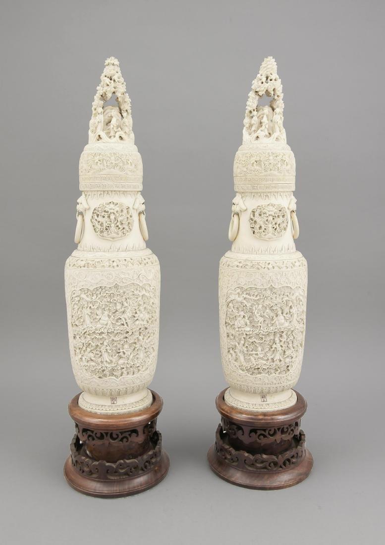 paar Prunkvasen, China, um 1900, filigrane