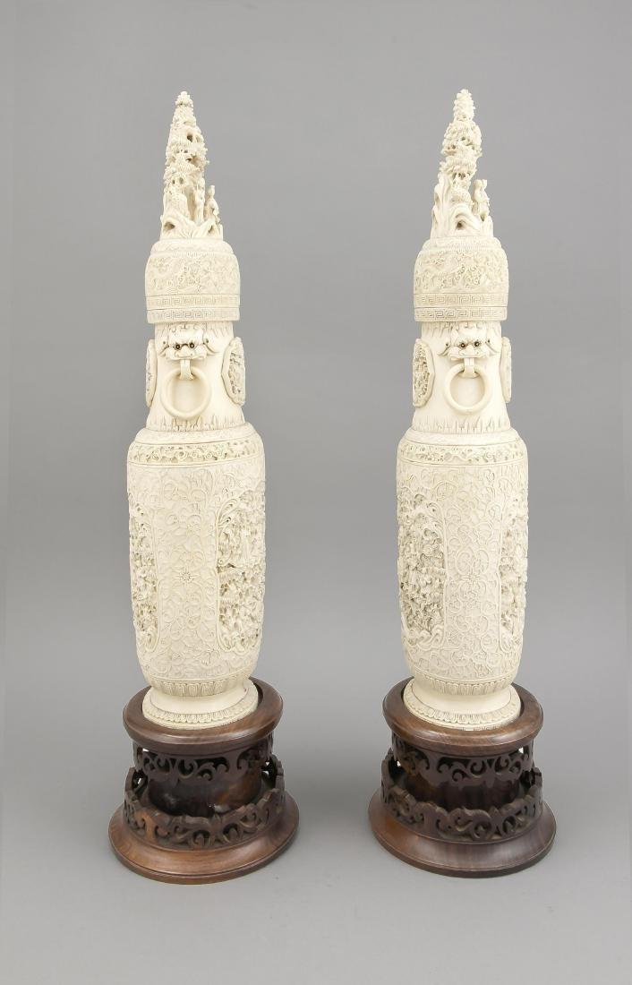 paar Prunkvasen, China, um 1900, filigrane - 3