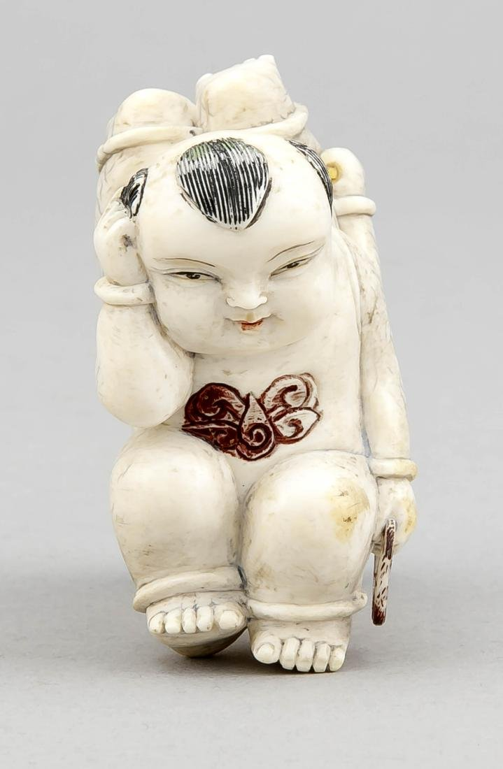 Elfenbein-Figur/Okimono/Netsuke, China/Japan, 19. Jh., - 2