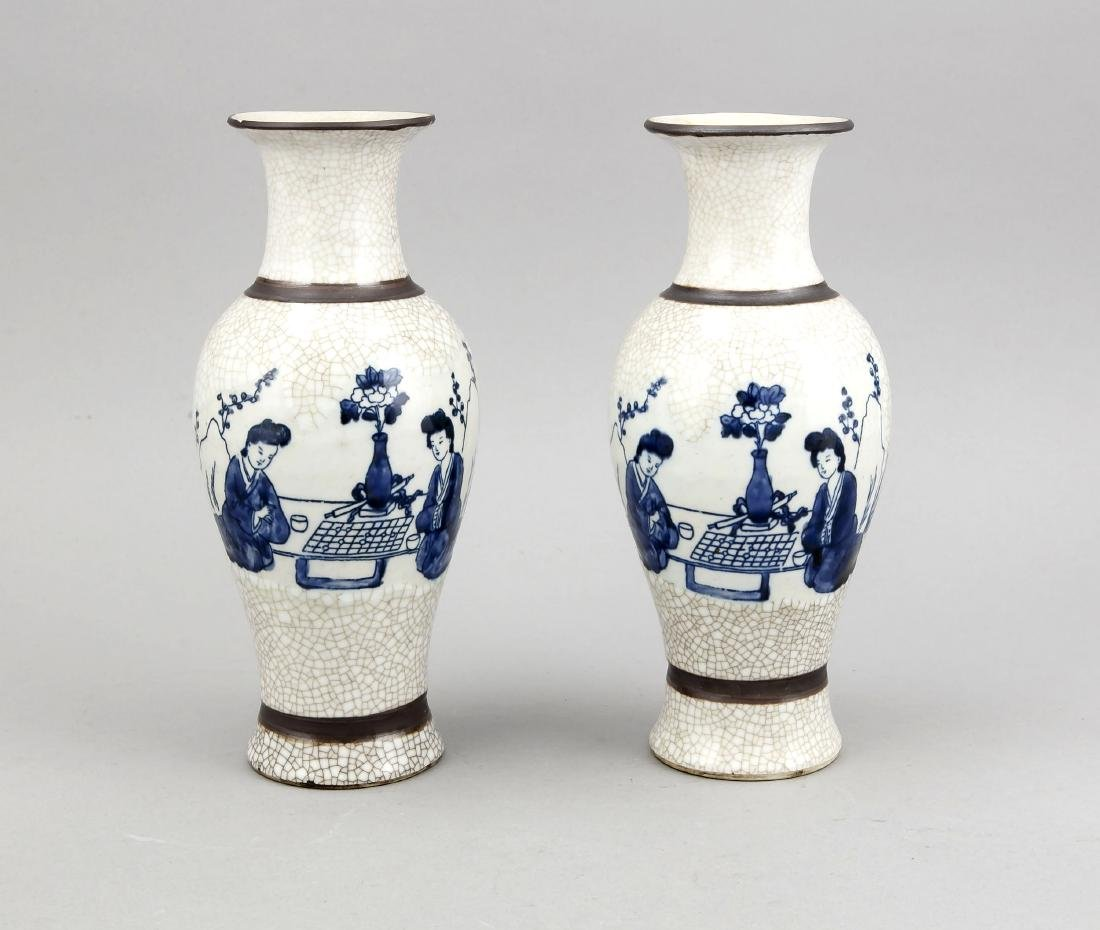 paar Vasen, China/Japan, 20. Jh., Balusterform,