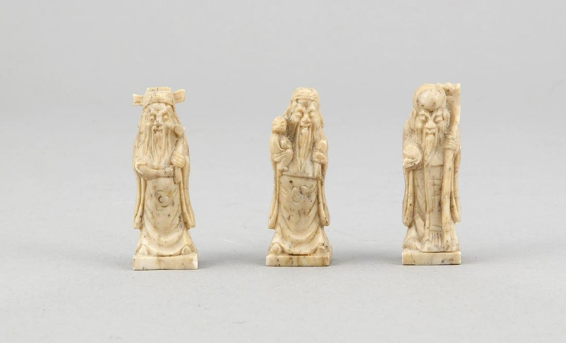 3 Specksteinfiguren, China, 20. Jh., weise Männer,