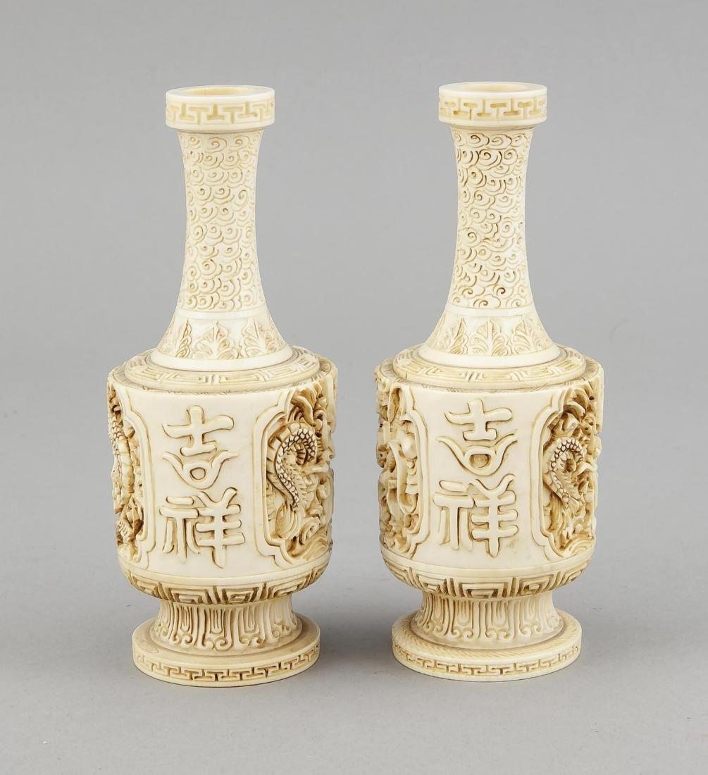 paar Elfenbein-Vasen, China, 19. Jh., zylindrischer - 3