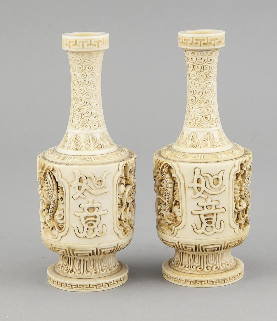paar Elfenbein-Vasen, China, 19. Jh., zylindrischer - 4