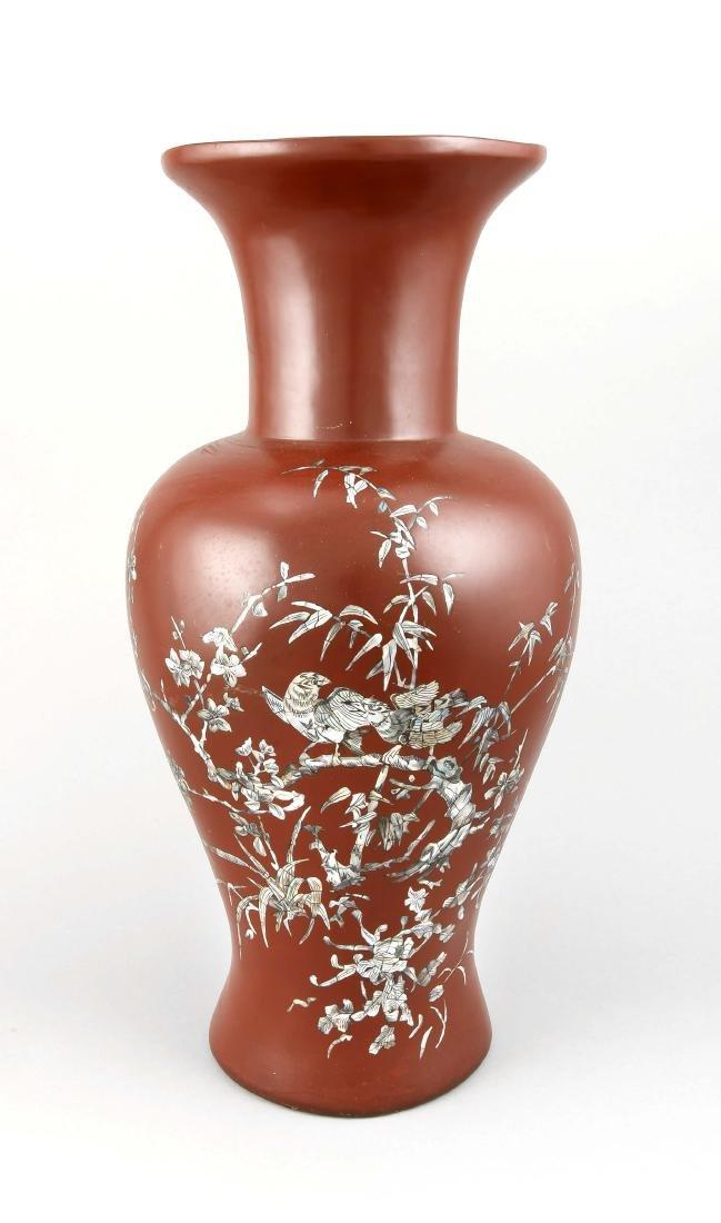 große Baluster Lack-Vase, China, 20. Jh., Dekor in