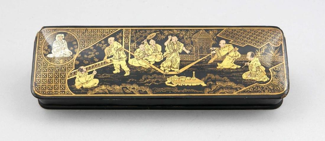 Lackdose, China, um 1900, querrechteckiges Format,