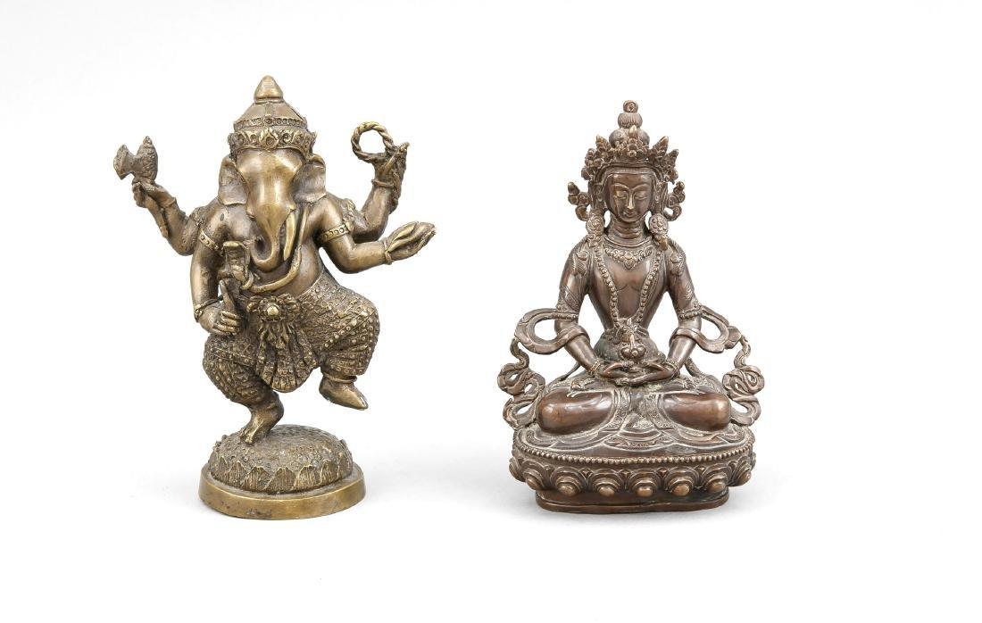 2 figures, China/Tibet, 19th/20th c., bronze, 1 x