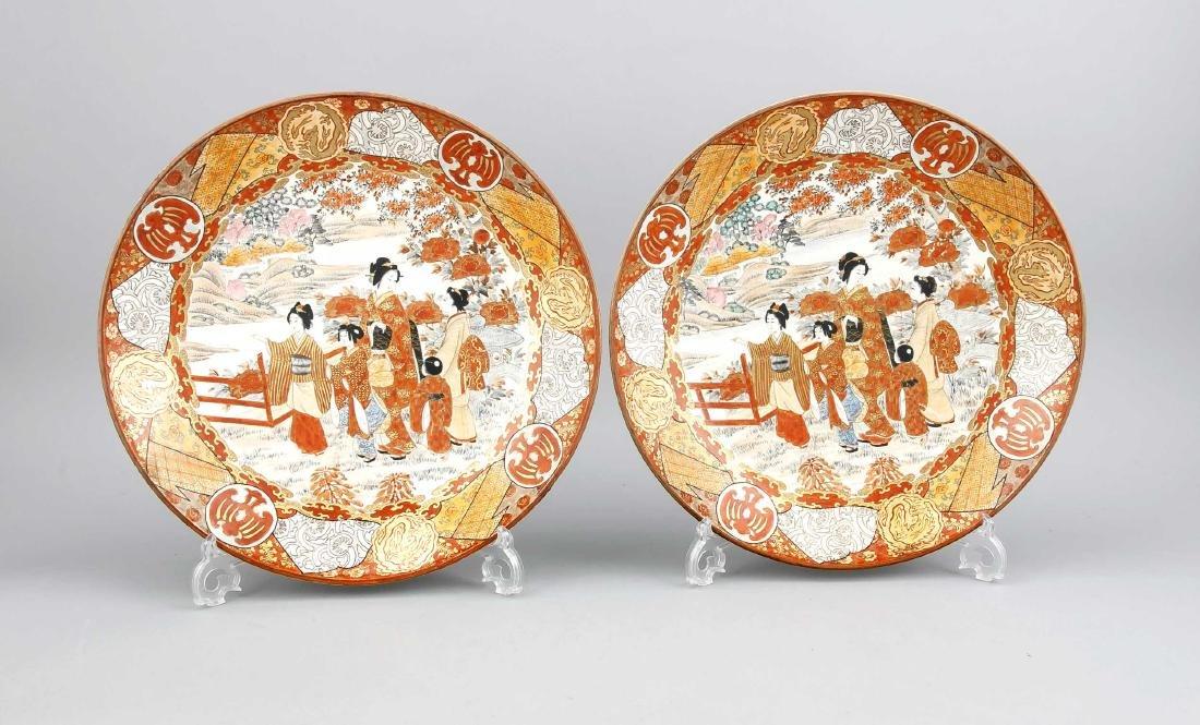 Pair of Satsuma-plates, Japan, 19th c., small red