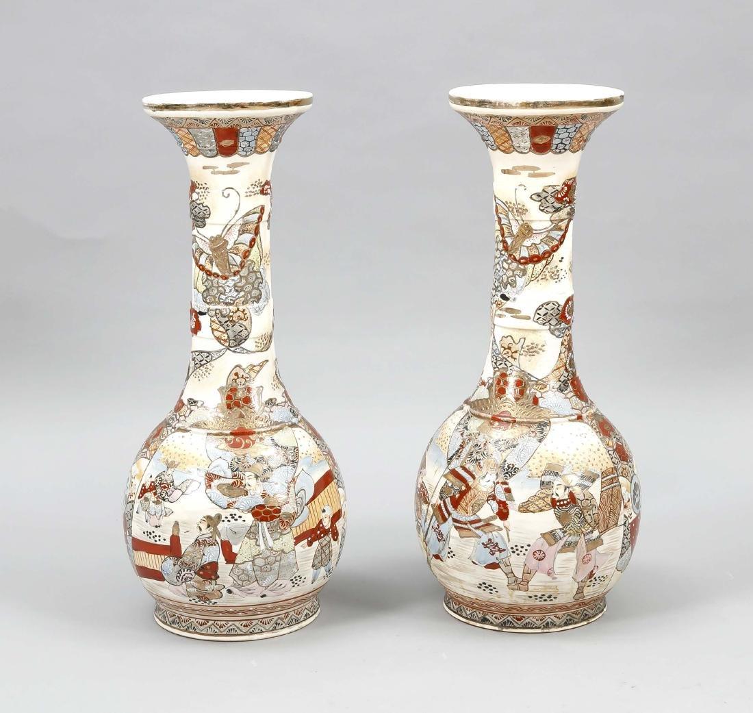 Pair of Satsuma floor vases, Japan, around 1900, h. 58