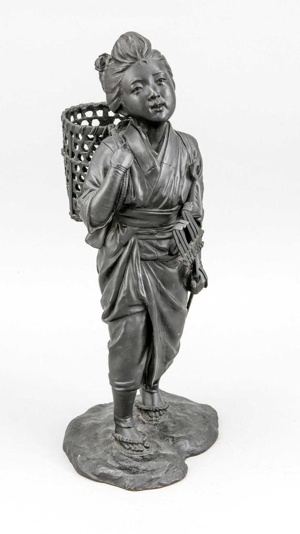 Japanese bronze ''Young countrywoman with basket'',