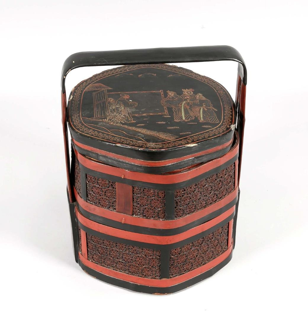 Large picnic basket, China, 1st h. 20th c., h. 50 cm,