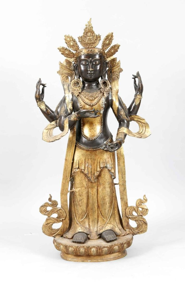 Large bronze of a Guanyin?, Tibet, 20th c., partly