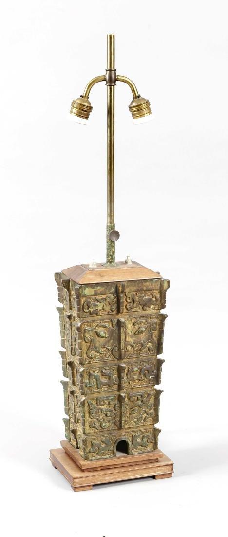 Fangyi-pot mounted as lamp stand, China, 20th century?,