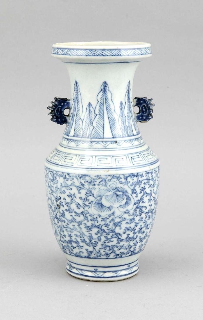 White-blue vase, China, probably 19th c., porcelain,