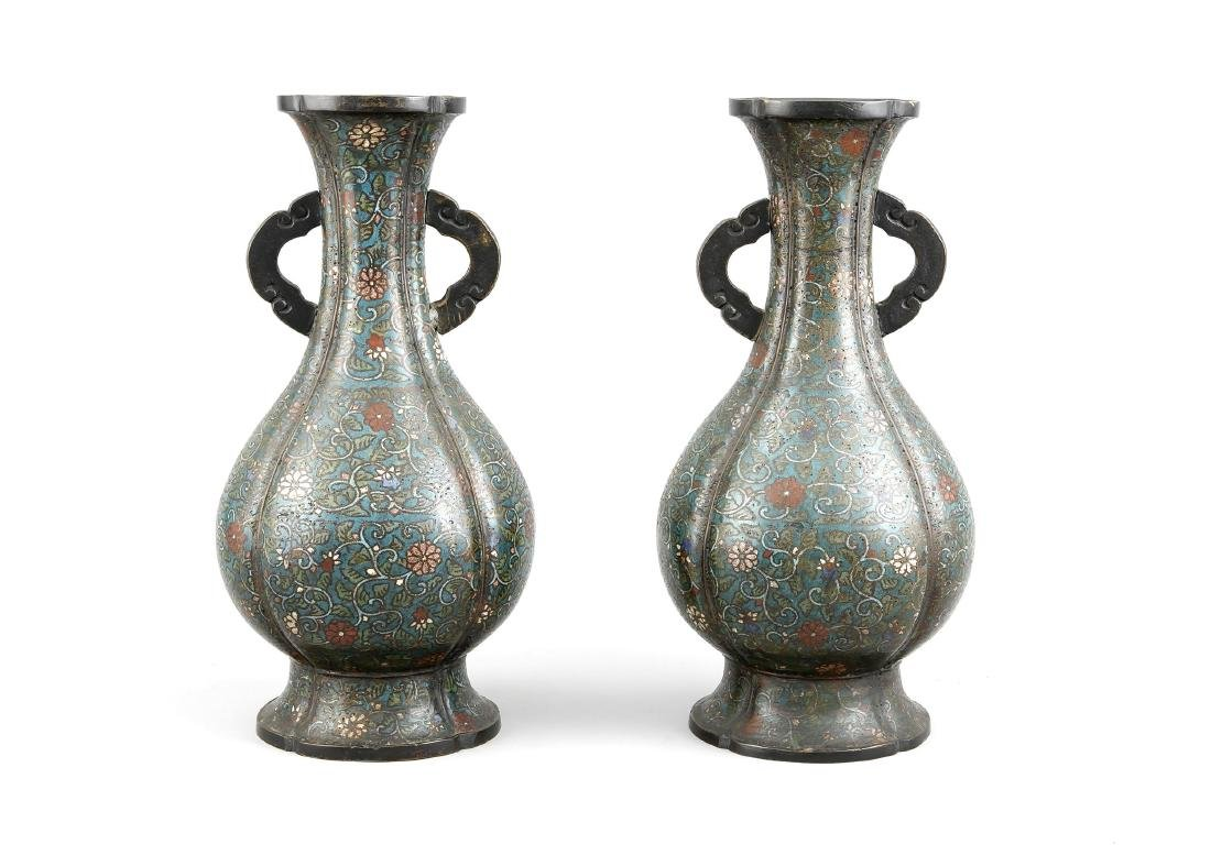 Pair of cloisonné vases, China, 19th c., cast marks, h.