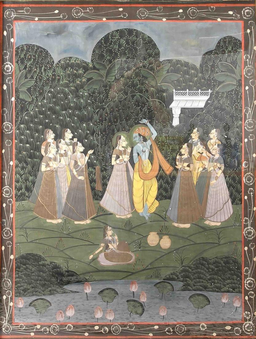 Pichwai, India, 19th/20th century, dancing Krishna,