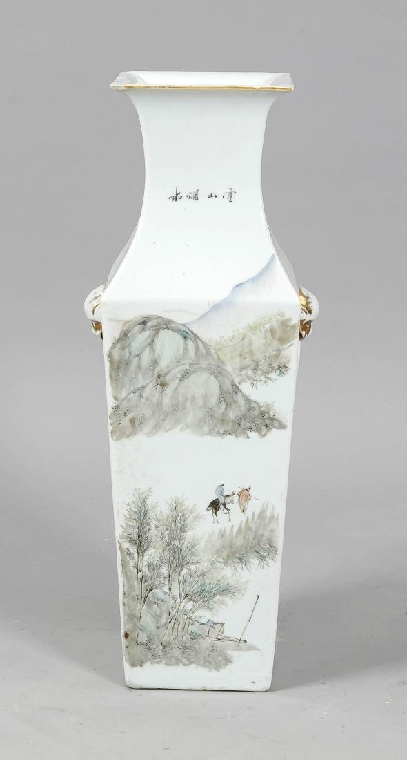 Squarish floor vase, China, 19th century, hallmarked