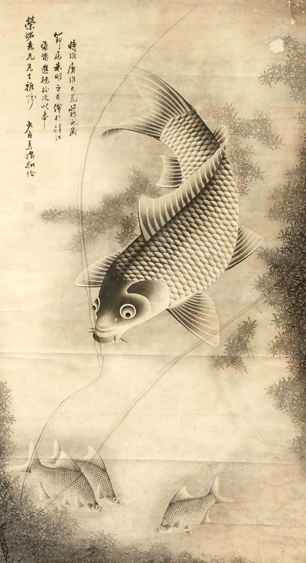 Japanese artist of the 19th century, large ink painting