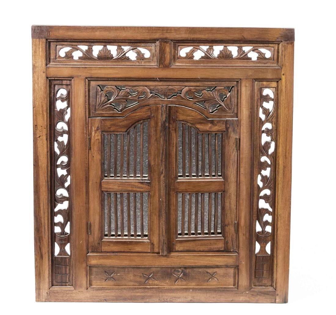 Mirror with lattice door, Asia, 20th century, frame of