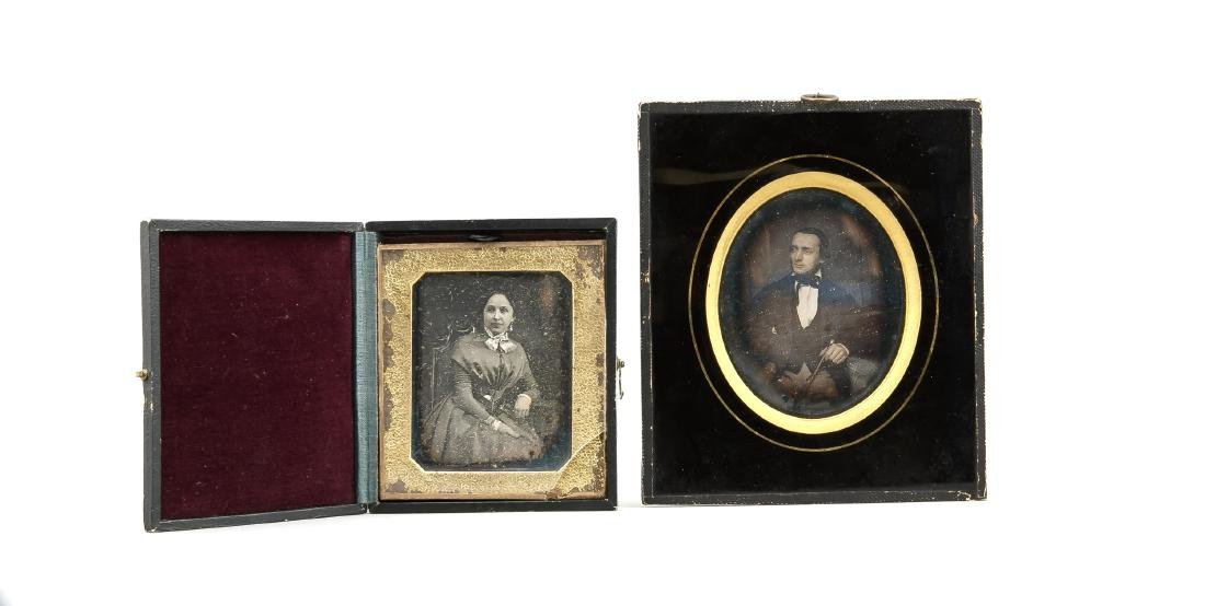 Two ambrotypes mid 19th century, portrait of a lady in