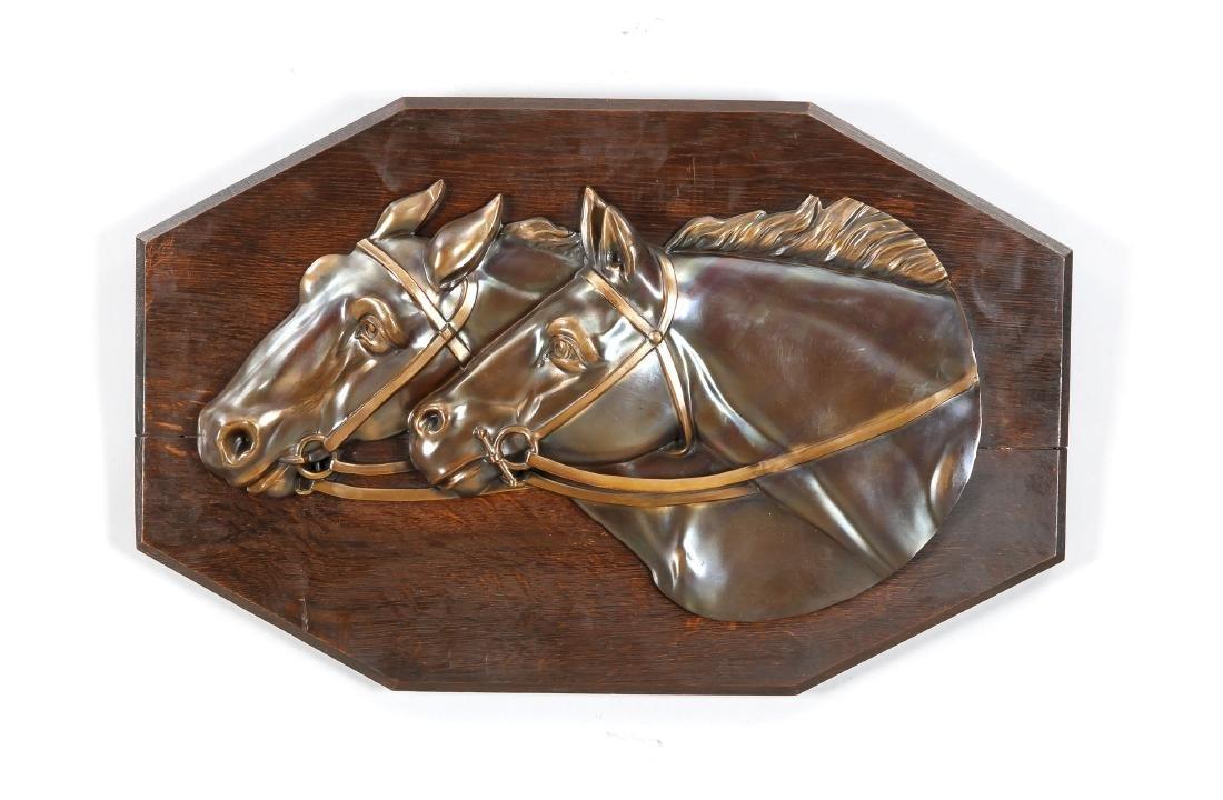 Wunderschöne Pferdeplakette, Holland?, 20. Jh., dunkle