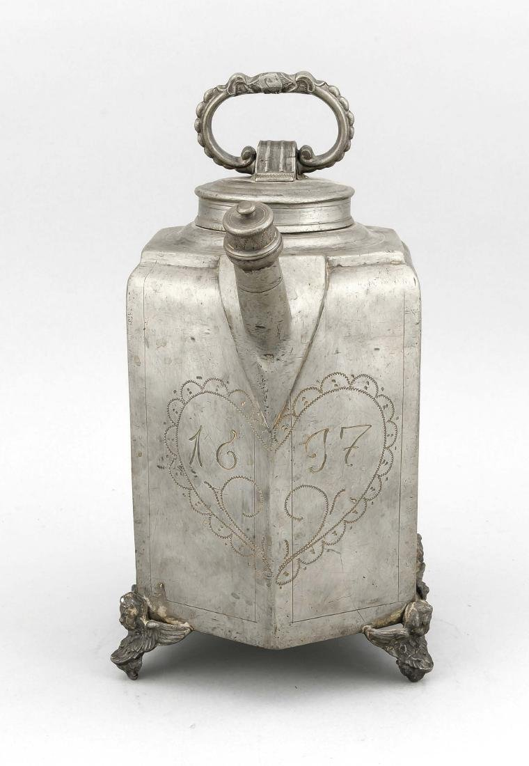 Teapot of the 17th century, pewter, hexagonal body with