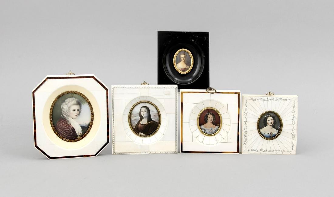 5 Miniaturen, Deutschland, 20. Jh., polychrome