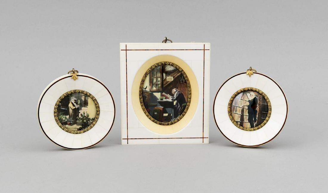 3 Miniaturen nach Spitzweg, Deutschland, 20. Jh.,
