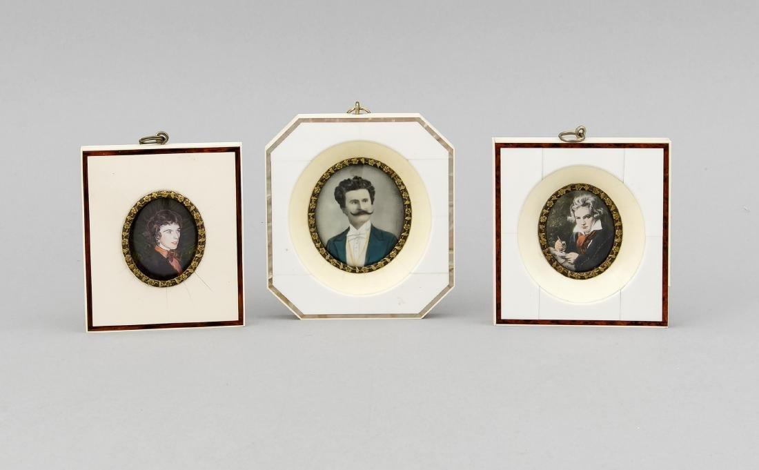 3 Bein-Miniaturen, Deutschland, 20. Jh., polychrome