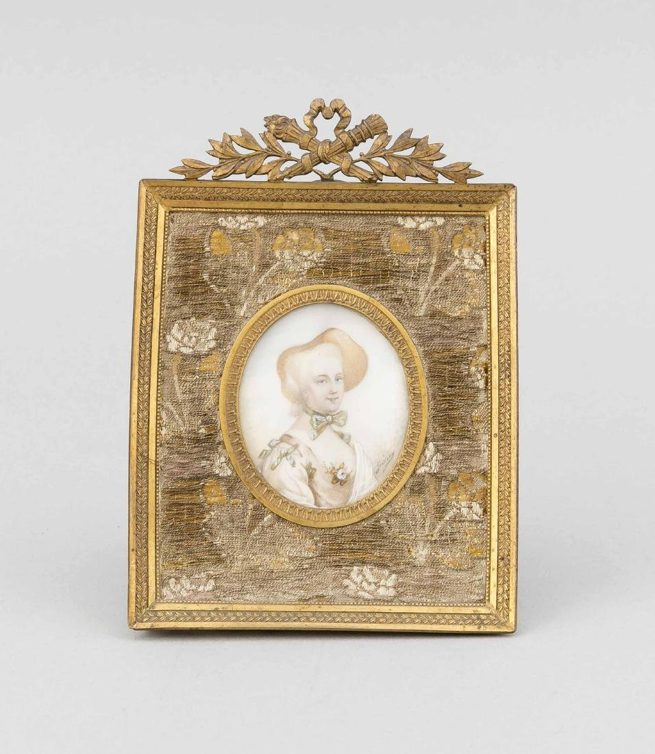 Miniatur einer Dame, 19. Jh., Messingrahmen mit