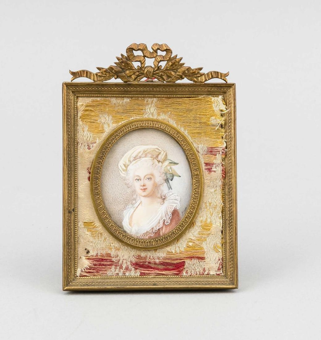 Miniatur einer Dame, 19. Jh., Lupenmalerei auf