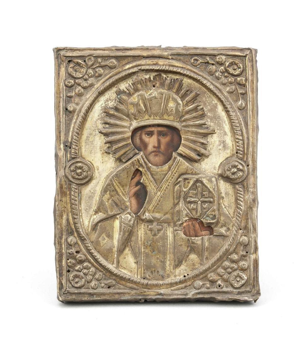 Ikone mit Messing-Oklad, Russland, 19. Jh., 22 x 17 cm