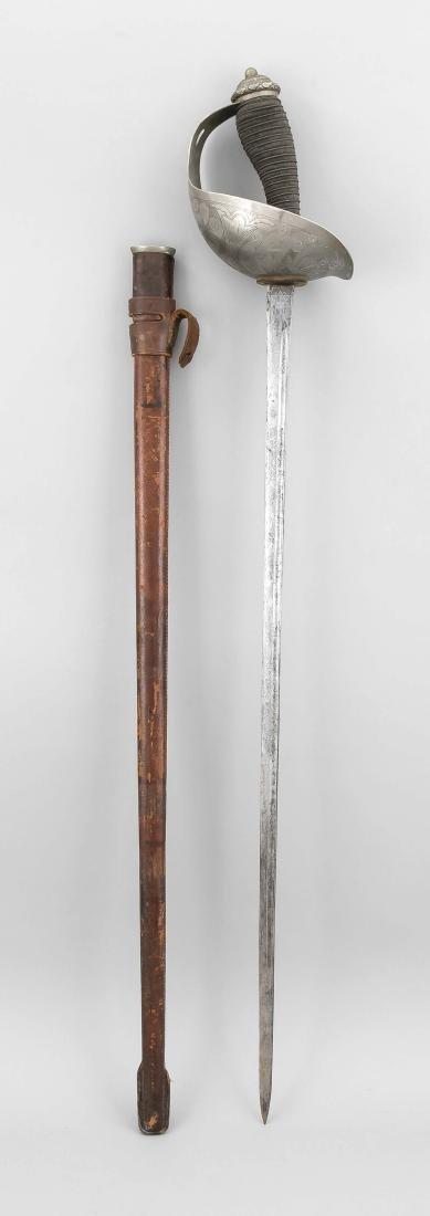English sword around 1900, straight, single-edged and