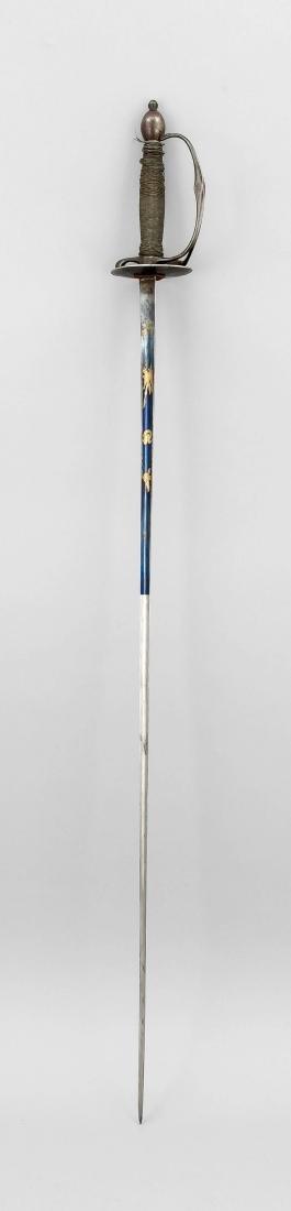 French sword around 1800, three-edged, one-third blued