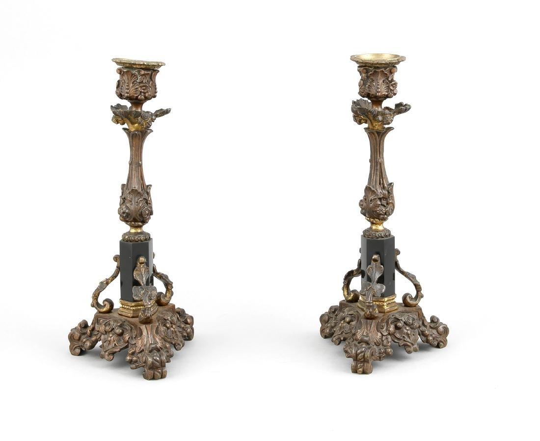 Paar Leuchter, Frankreich/England, 19. Jh., Bronze,