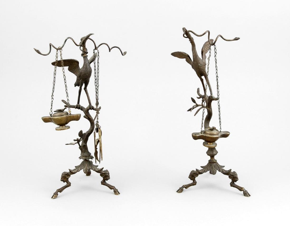 Paar Öllampen, Bronze, Italien, spätes 19. Jh.,