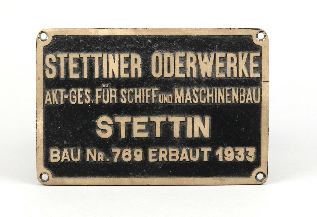 "Schild des Dampfeisbrechers ""Stettin"", Messingreplik,"