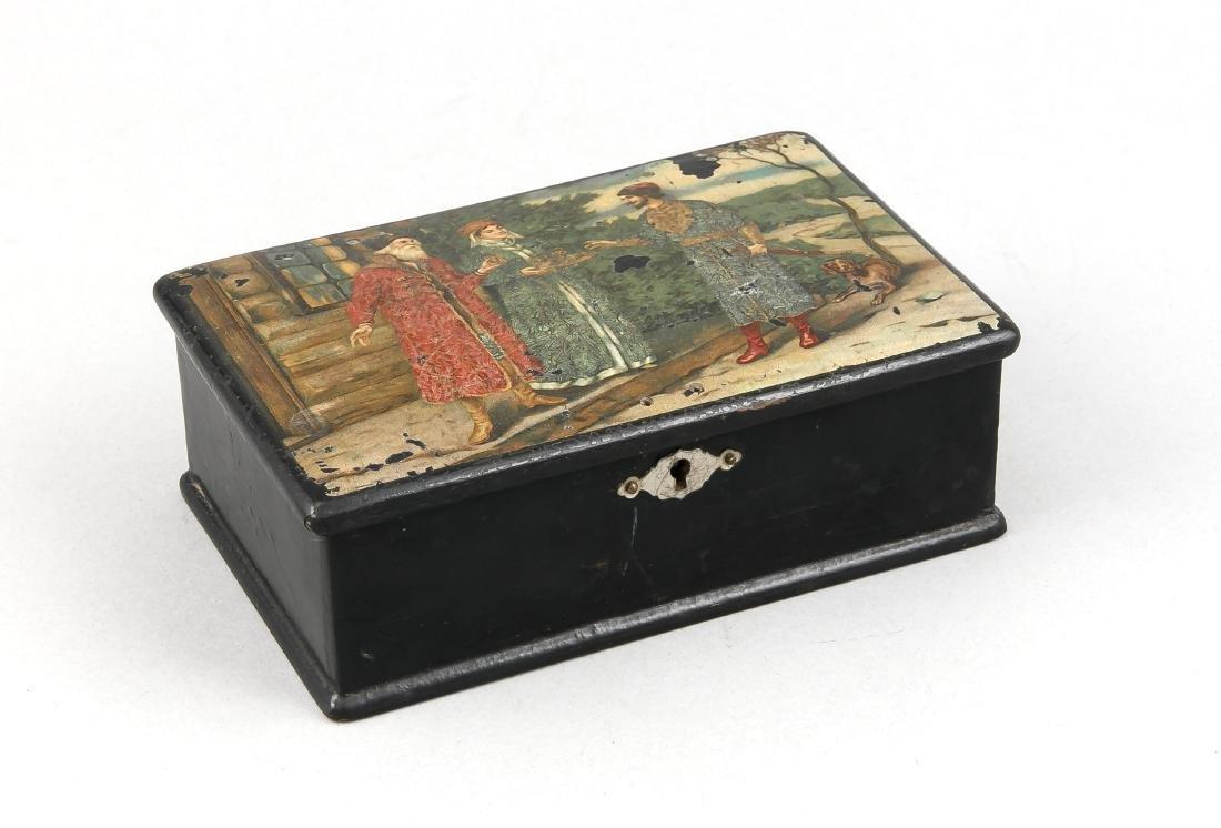 Russian lacquer box around 1900, rectangular papier