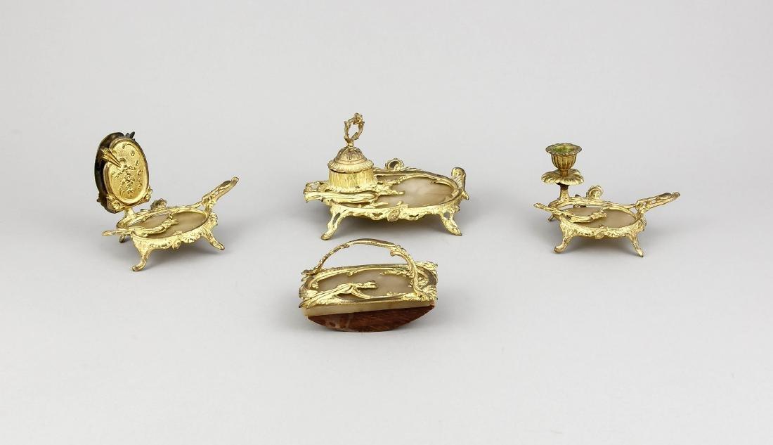 Schreibzeug, 4 Teile, Frankreich, 19. Jh., Bronze